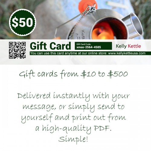 Kelly Kettle Gift Card - Ideal Holiday Gifts