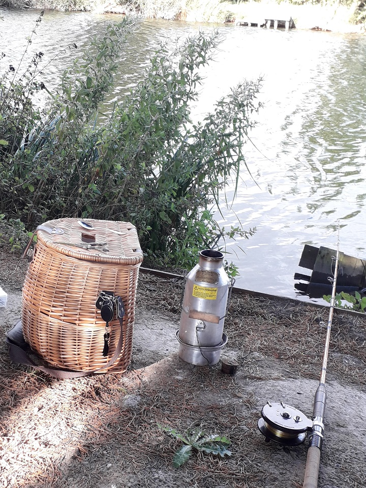 Hunting for Carp with my battered old kettle (Picture taken at Southfield fisheries Rainton, North Yorkshire, U.K.)