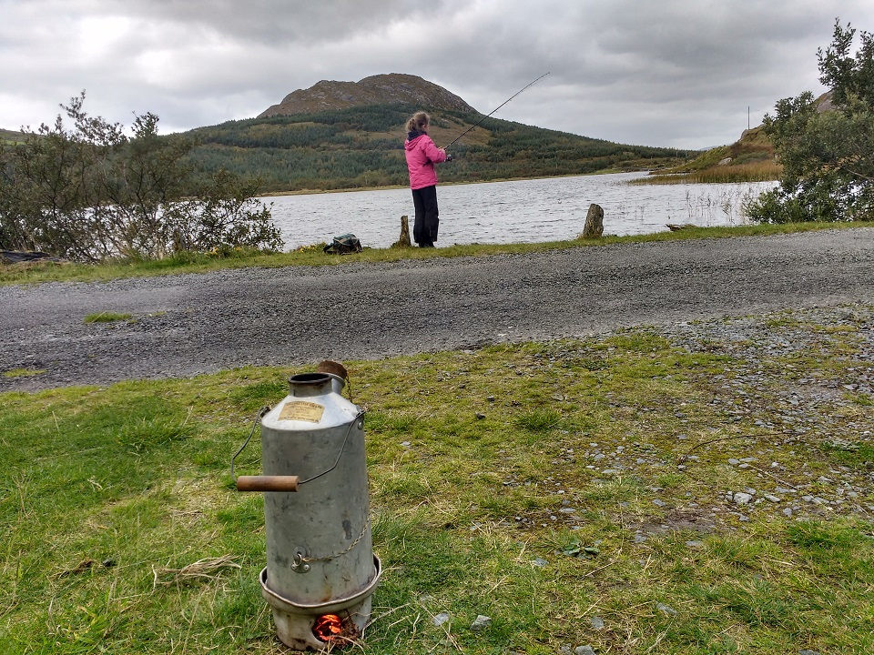 We go out angling with our daughters often. This picture is taken at one of our favourite places. Here is our eldest daughter fishing for brown trout.We always bring the Kelly Kettle to make tea, coffee and hot chocolate.