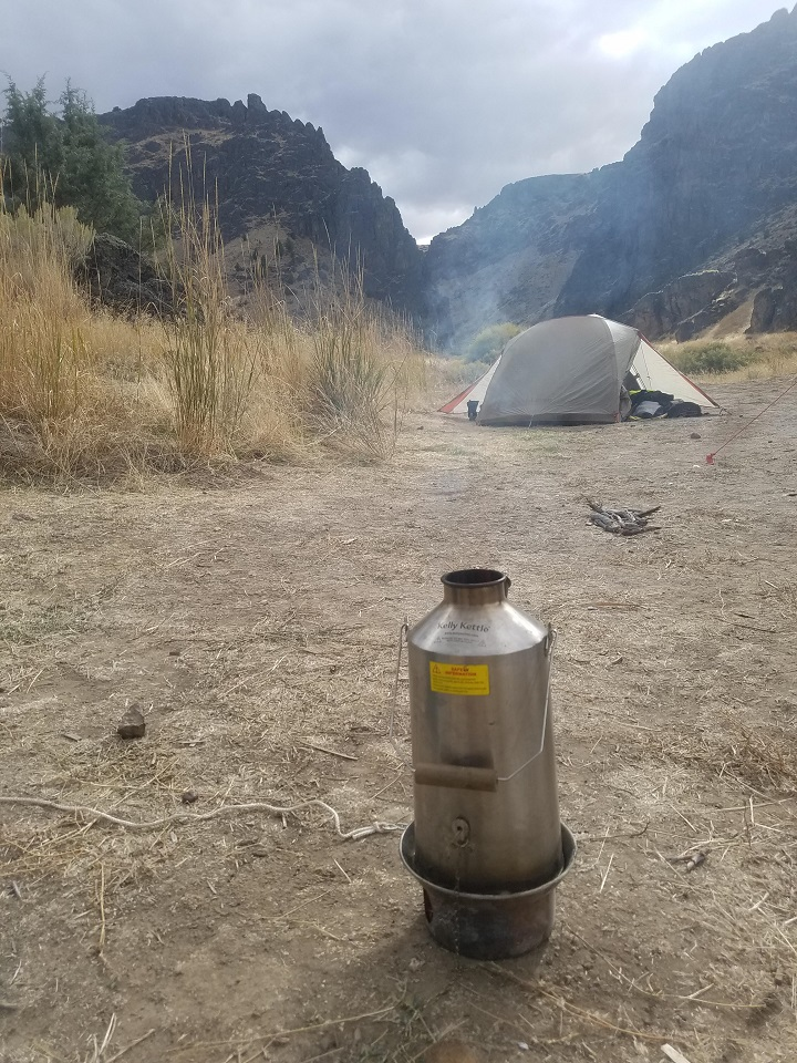 Good morning! I am writing to tell you about our Kettle - which we love! We take it into the back country on adventure motorcycle trips and it is an essential part of our camp kitchen. Attached is a photo of our Kettle from our most recent trip in the Owyhee Wilderness of Idaho.