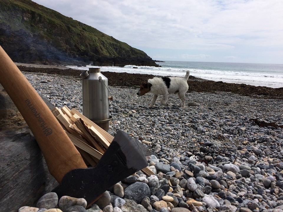 Just me, the dog and my Kelly Kettle. Perfect for a brew on a deserted beach. (Carne Beach, Cornwall, U.K.)