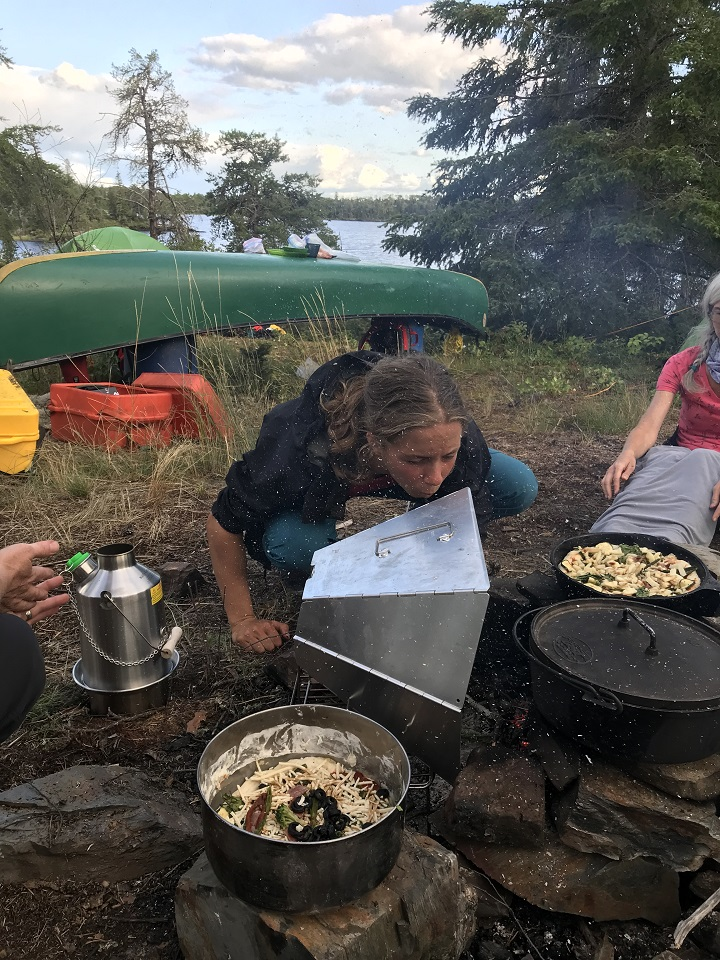 Campfire dinner. Kelly Kettle is my favourite camp kitchen tool. (Manigotagan River Manitoba, Canada)