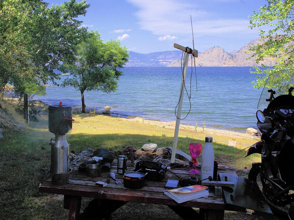 Was a beautiful campout with the bike, the HAM radio & the Kelly Kettle at my good friend Dan near Summerland, BC, my own private beach front property on the Okanagan Lake B.C.  Summer of 2019
