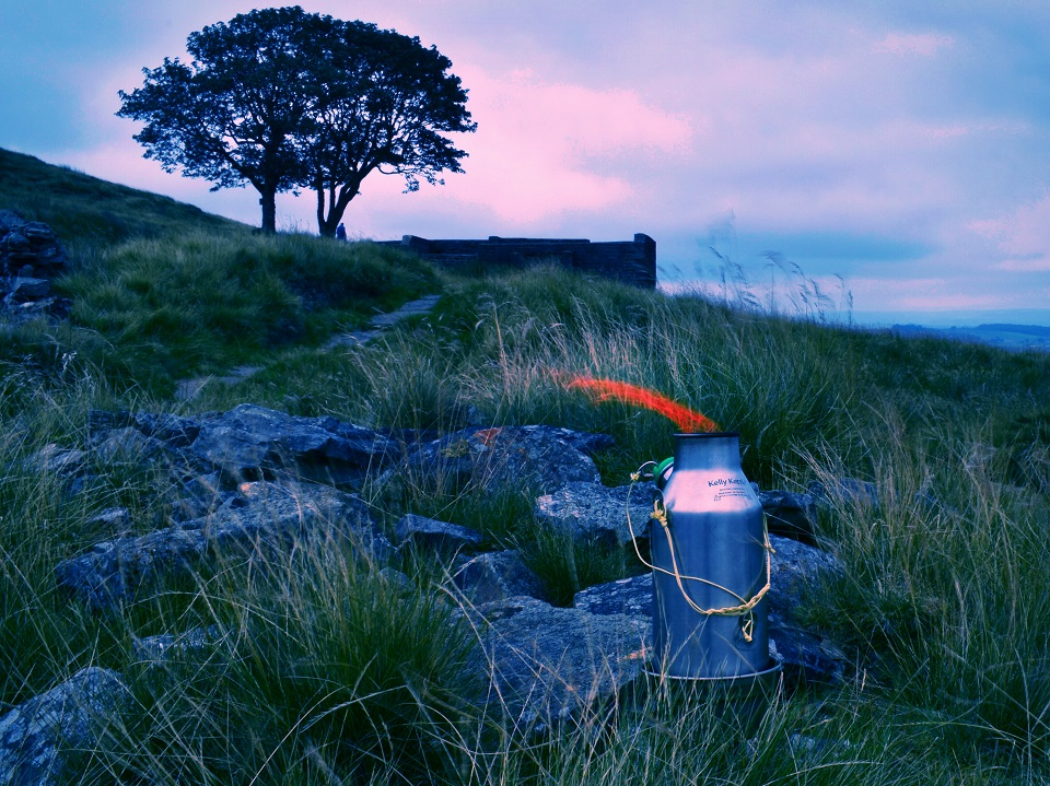 Taken at Top Withins on the Pennine Way (U.K.). I replaced the Kettle's handle with heat proof paracord, taking inspiration from the weight saving guide. Fitting everything into my pack was just that little bit easier and having the kettle with me for moments like this really made them.