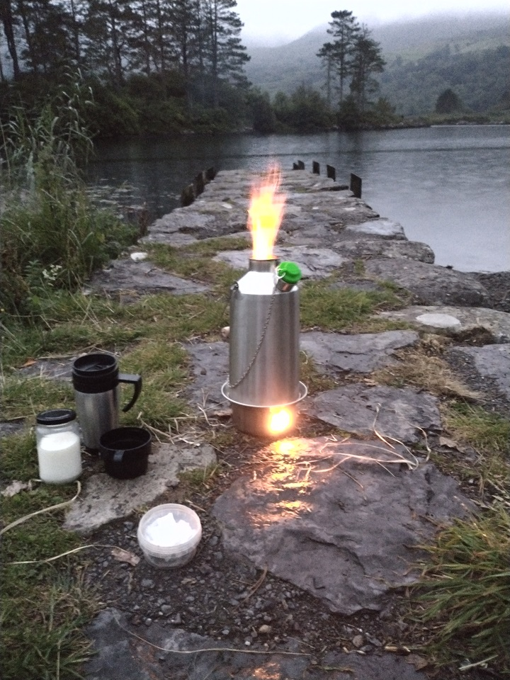 Making tea for the family after an evening fly fishing. (Cloonee lakes, Co. Kerry, Ireland)