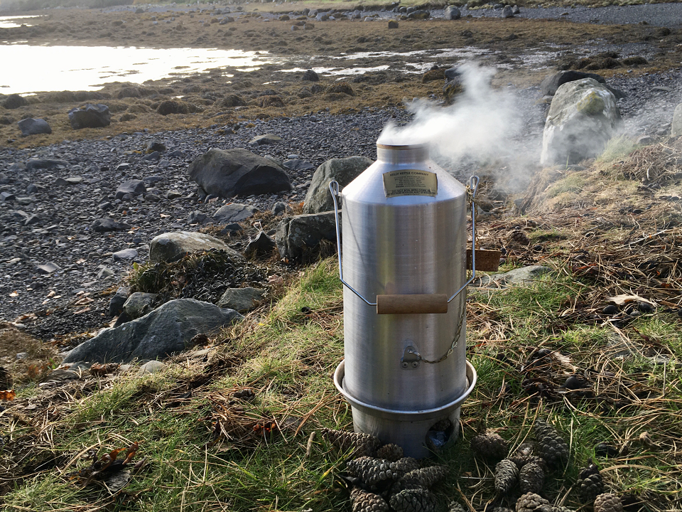 The perfect companion for an Autumn walk on the shores of Strangford Lough, kettle is still going strong after so many years of service. (Below Nendrum Monastery, Mahee Island, Co.Down, Northern Ireland)