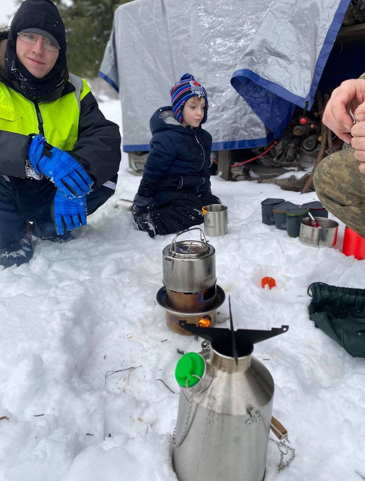 My sons first snowshoe outing was a great success with Kelly Kettle hot cocoa during a break!