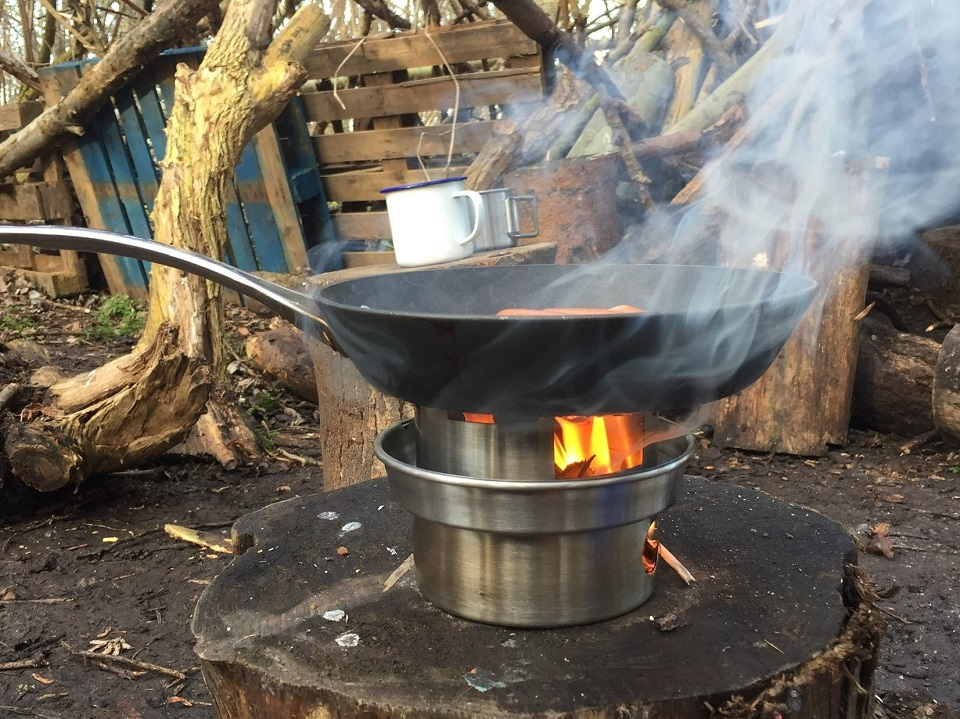 Testing out my new hobo stove to cook sausages during a forest school session on Hackney Marshes. (U.K.)