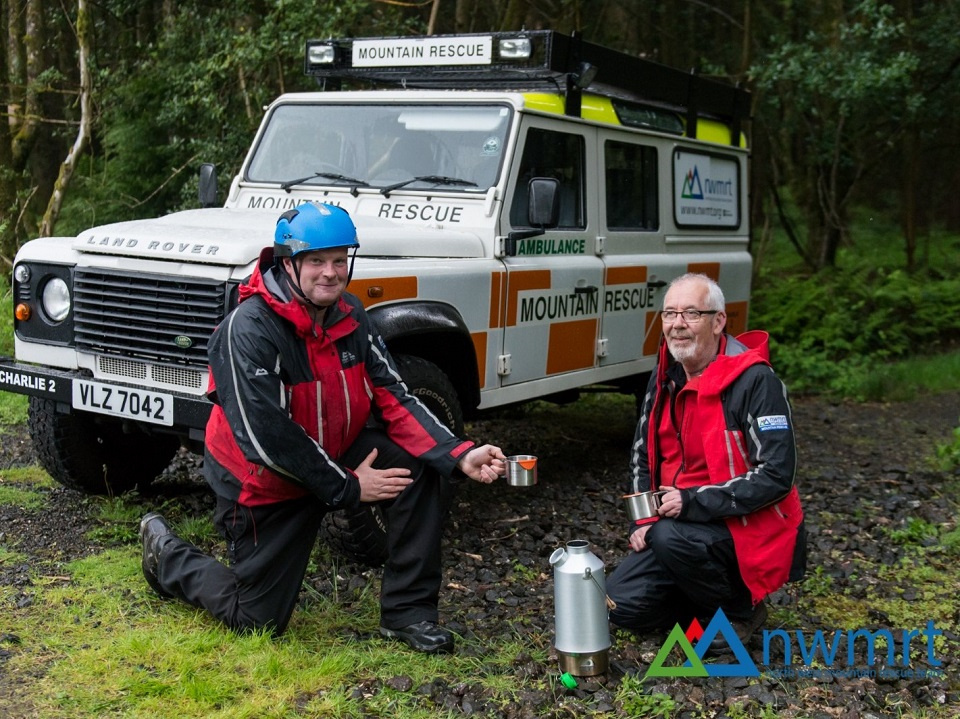 Tea break for North West Mountain Rescue Team during training. Gotta love the Kelly.