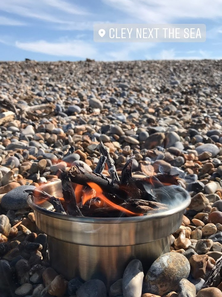 Oh we do like to be beside the seaside! A typical day on the beach in the UK requires a hot drink and fleece jacket. Theres also plenty of driftwood to source to get the kettle going! Cley-Next-The-Sea (Norfolk, U.K.)