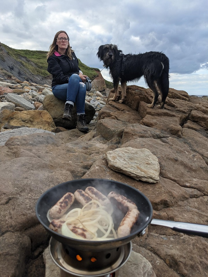 Enjoying some sausages on Cocklawburn beach, Northumberland. With the hobo stove and Hazelnut Wafflebeard (That's the dog not wife!)