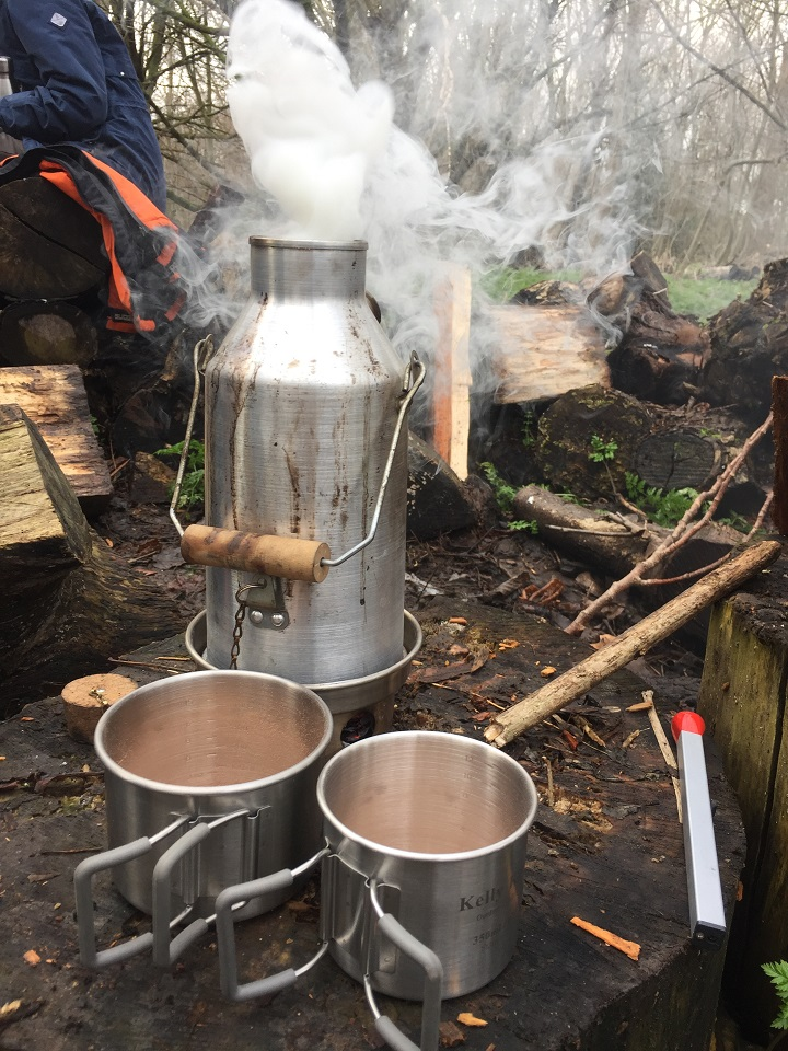 Hot chocolate all round for chilly children!