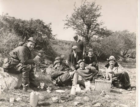 Jim Kettle (seated Centre) with a Party of Welsh Anglers on Lough Conn, 1964