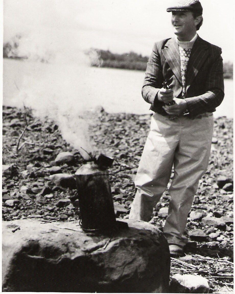 Padraig Kelly, Brewing Tea on Lough Conn. 1975